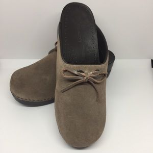 Lands' End Brown Suede Clogs with Tie